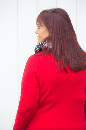 Red Plaited Roll Neck Jumper/Dress