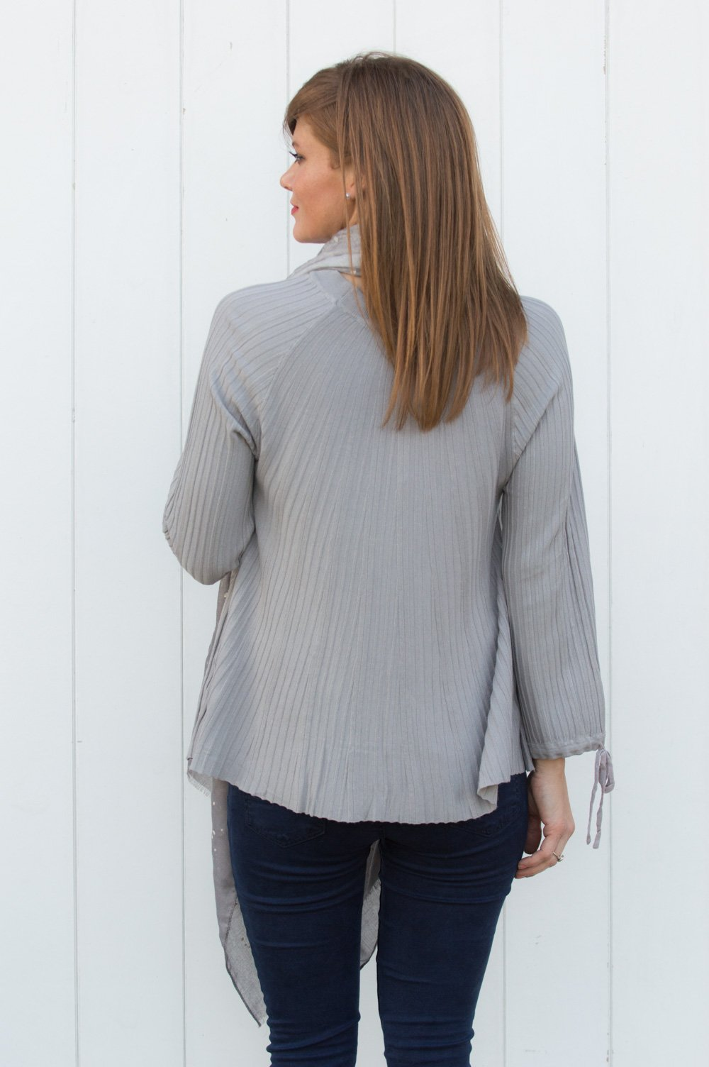 95114e4870 Taupe Pleated Tie-Up Lightweight Jumper - Mandy s Heaven
