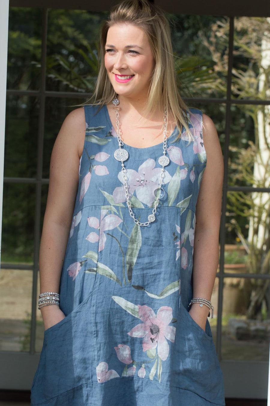 Denim Pocket Flower Linen Dress