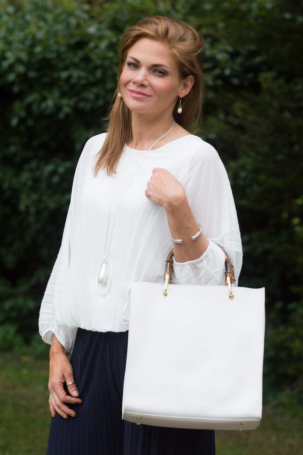 Cream Pleated Batwing Blouse