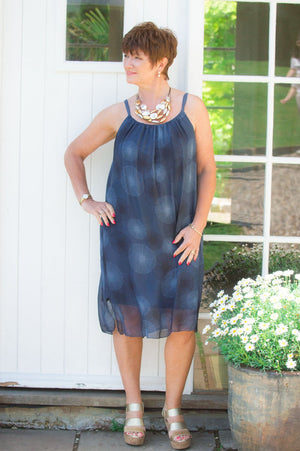 Navy Abstract Print Silk Top/Dress