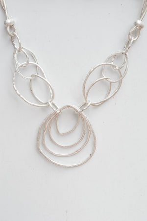 Short Silver Abstract Necklace