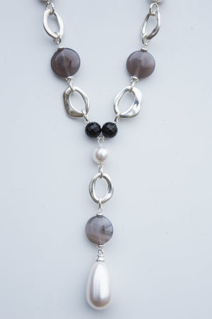 Long Silver and Grey Charm Necklace