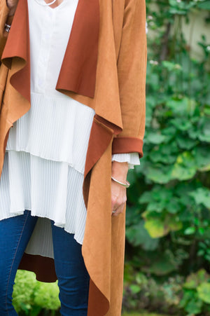 Brown Suede Waterfall Jacket