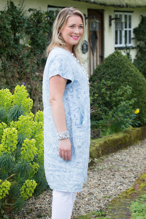 Light Blue Paisley Dress Curve