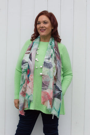 Green, Purple and Pink Floral Print Scarf