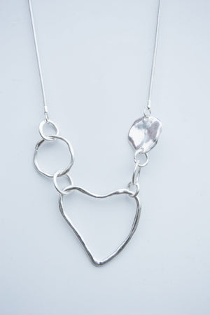 Long Silver Heart Abstract Necklace