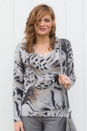 Grey Animal Print V-Neck Jumper