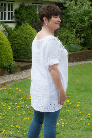 White & Navy Floral Stitch Linen Top