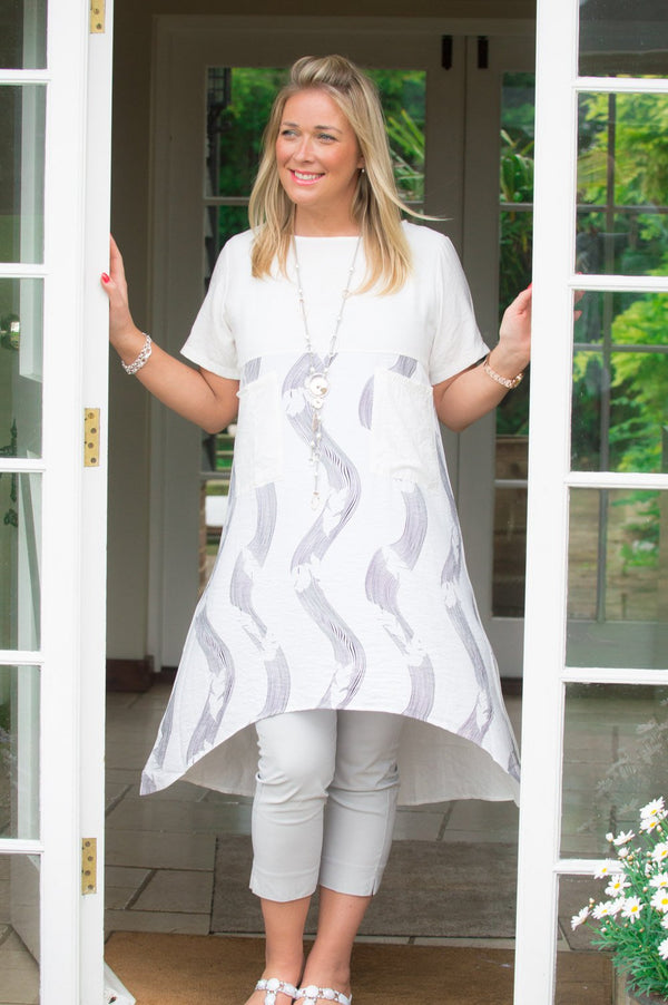 VIP White Abstract Print Panelled Top