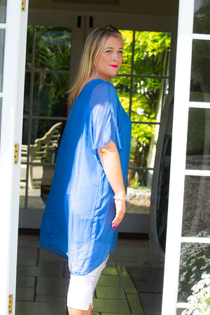 Royal Blue Silk Top