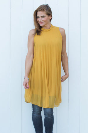 Mustard High Neck Pleated Top/Dress