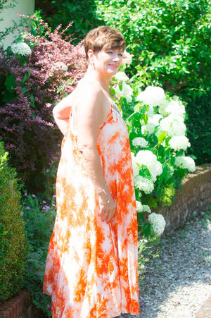 VIP Orange Tribal Tie-Dye Dress