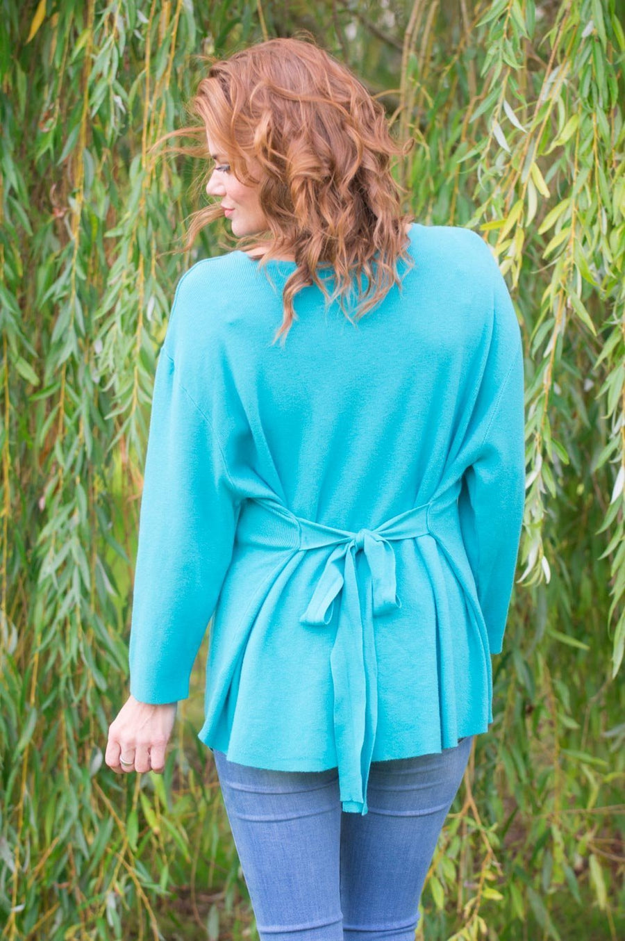 Teal Ribbed Belted Jumper