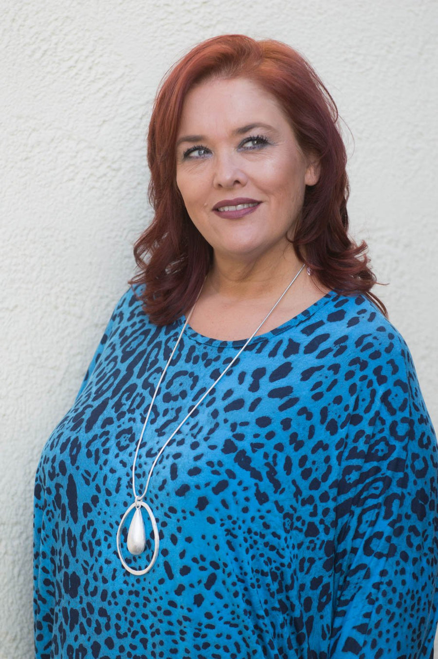 Bright Blue Leopard Print Top Curve - Mandy's Heaven