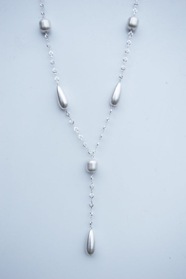 Long Silver Hoop Bead Necklace