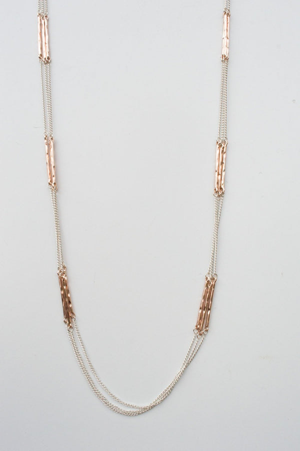 Long Silver and Rose Gold Thin Necklace