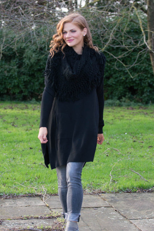 Black Midi Jumper With Crochet Scarf - Mandy's Heaven