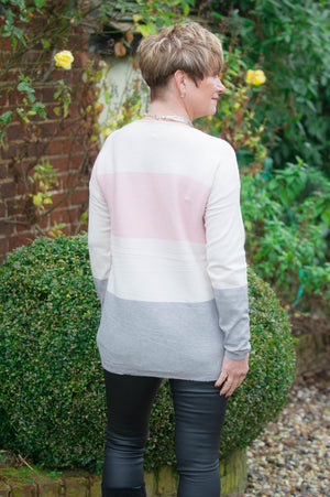 Cream, Pink & Grey Striped Jumper & Snood