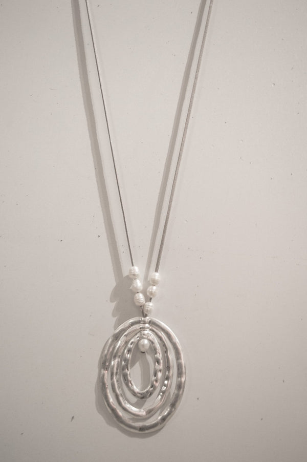 Long Silver Suede Abstract Necklace