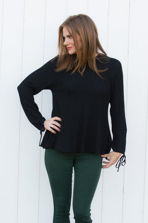 Black Pleated Tie-Up Lightweight Jumper - Mandy's Heaven