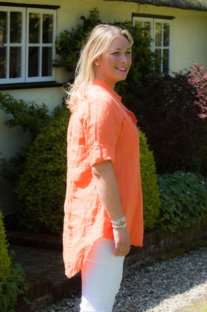 Orange Two-Pocket Linen Collarless Shirt