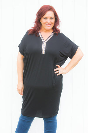 Black Diamante V Neck Top/Dress