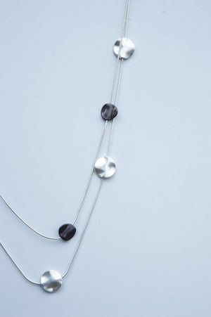 Long Black and Silver Abstract Pendant Necklace