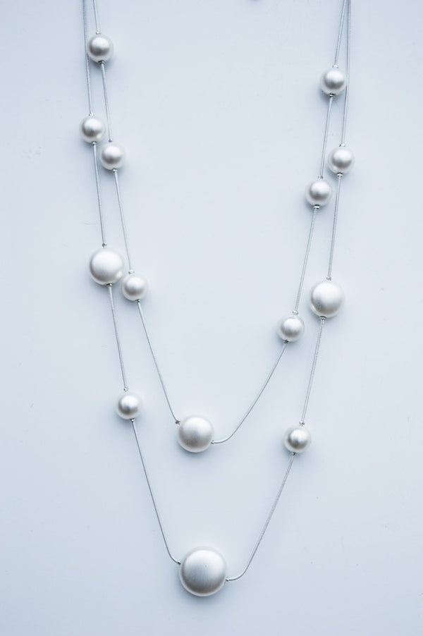 Silver Scatter Bead Necklace