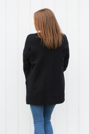 Black Collarless Cardigan - Mandy's Heaven