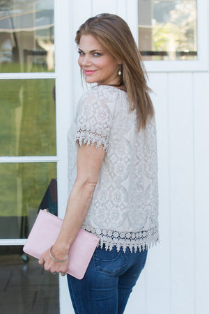 Beige Lace Detail Off The Shoulder Top