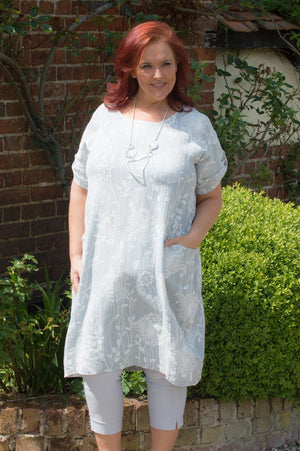 Light Grey Floral Print Linen/Cotton Blend Dress