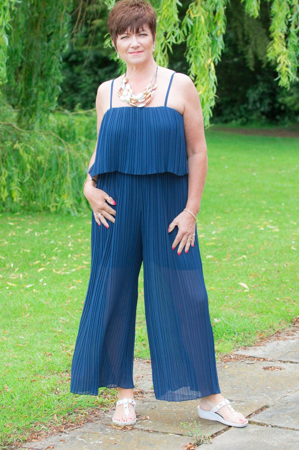 Navy Pleated Jumpsuit