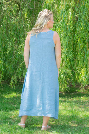 Denim Sleeveless Panelled Linen Dress