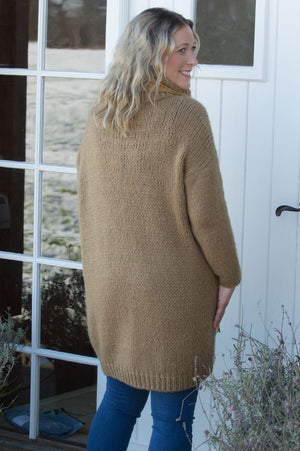 Toffee Roll Neck Knitted Midi Jumper
