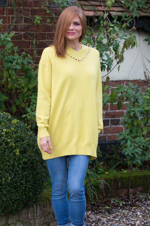 Lime V Neck Pearl Jumper