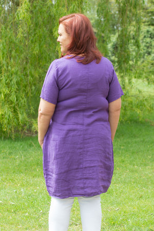 Purple Linen V Neck Stitch Blouse