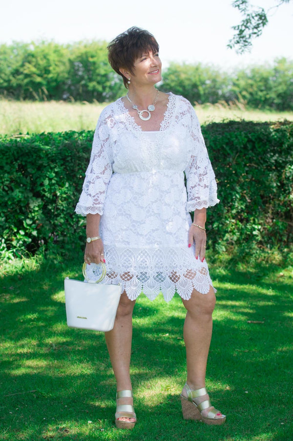 VIP White Lace Bell-Sleeved Top/Dress