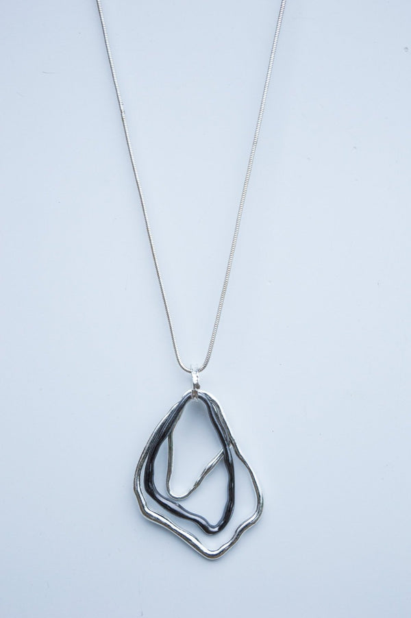 Long Silver and Charcoal Abstract Shape Necklace