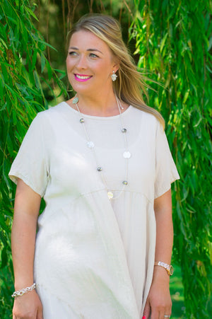 Beige Panelled Top/Dress