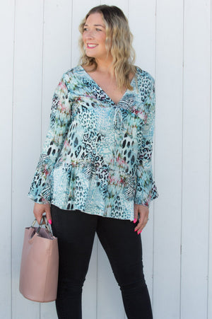 Light Blue Animal Print Smock Top