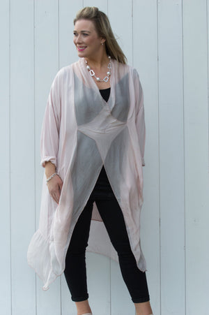 Light Pink Cross-Over Silk Tunic Curve