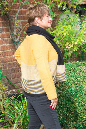 Mustard Striped Jumper & Scarf Set