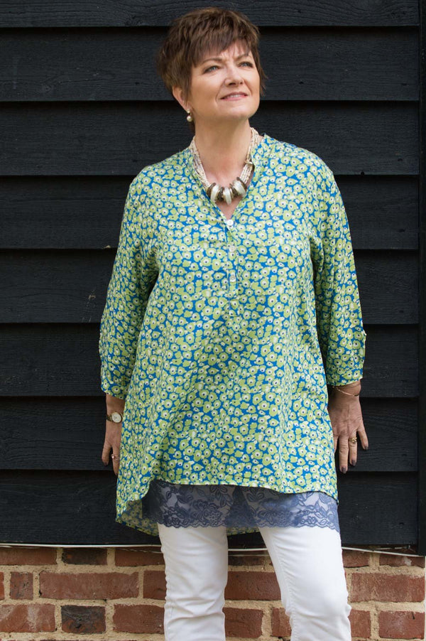 Lime & Blue Delicate Flower Print Shirt
