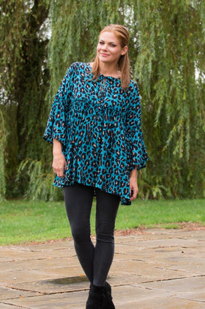 Blue Leopard Print Tie-Up Smock Top - Mandy's Heaven
