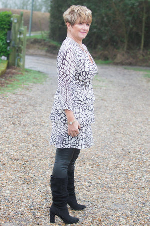 Beige & Charcoal Animal Print Ruffle Top