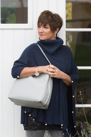 Silver Grey Shoulder Bag