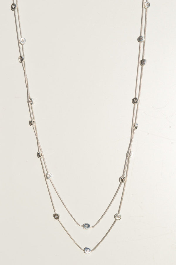 Long Silver Gem Necklace