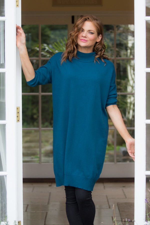 Jade Green High Neck Midi Jumper