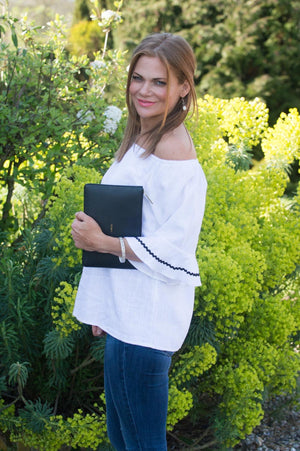 White Off the Shoulder Black Trim Top